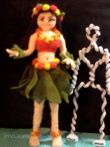 needle felted hula dancer