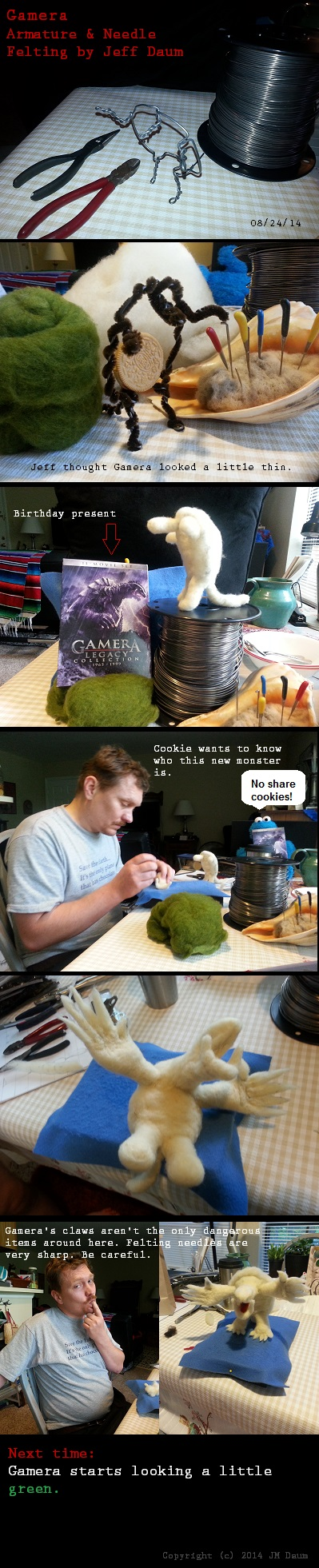 needlefelting on gamera armature work-in-progress